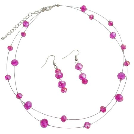 Price :$11.99 Double Stranded Illusion Hot Pink Crystal Necklace Set Material : Its 8mm & 4mm round adorned in beautiful necklace & earrings same beads like necklace  Color : Fuchsia  Necklace Length : 16 inches with 2 inches  Earrings Length : 1 inch long  Earrings Type : Nickel Free French Hook