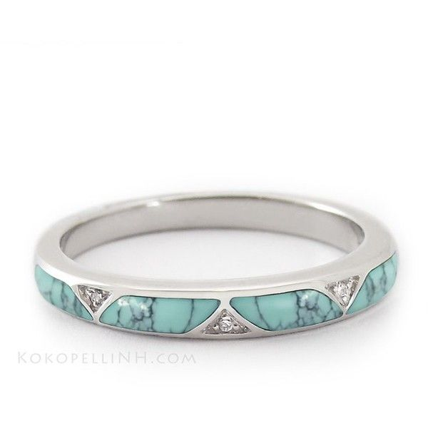 Turquoise wedding band real gold ring t