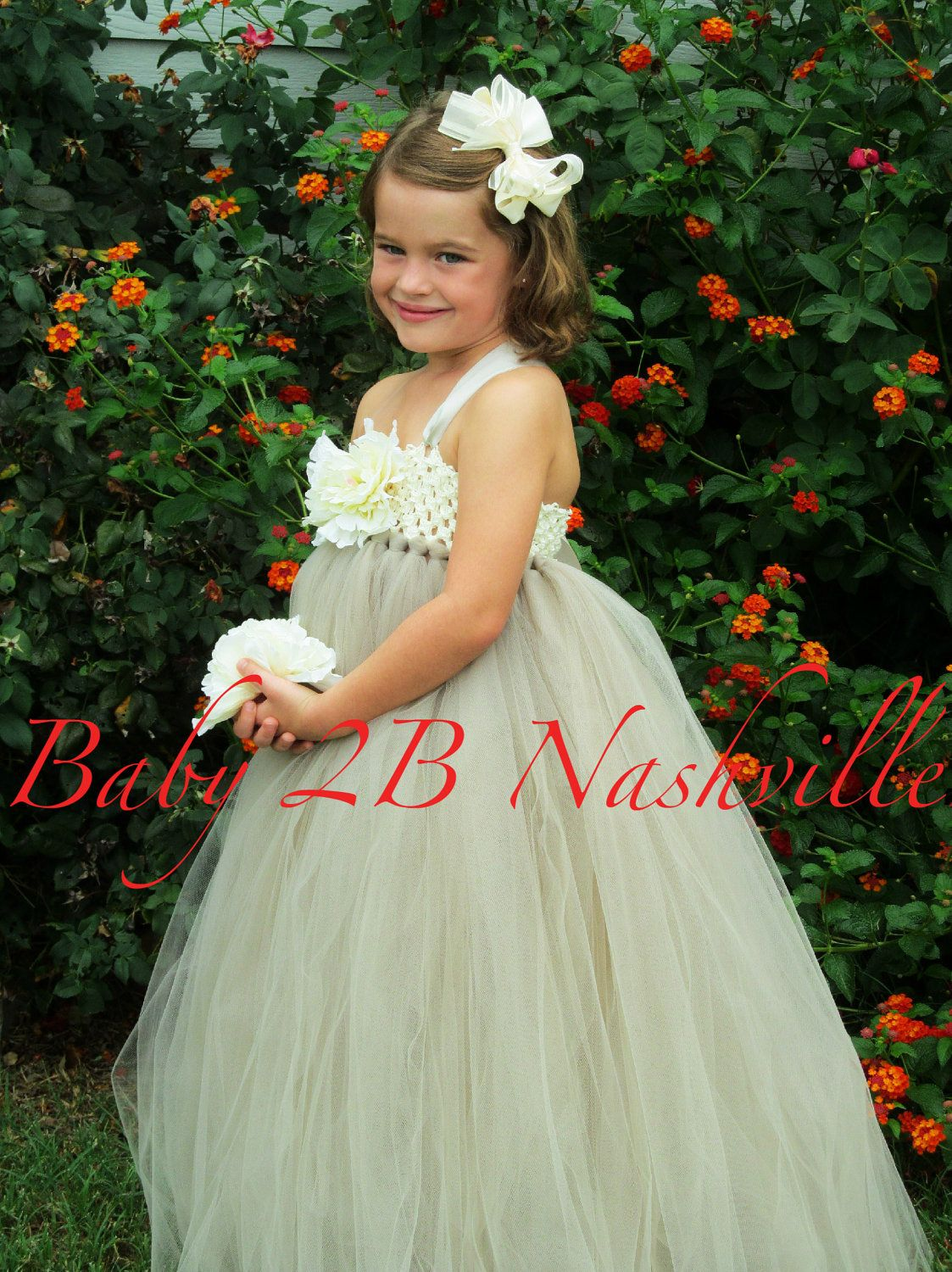 377a13b3a30 Flower Girl Dress in Ivory and Silver Girls 5-6T.  92.00