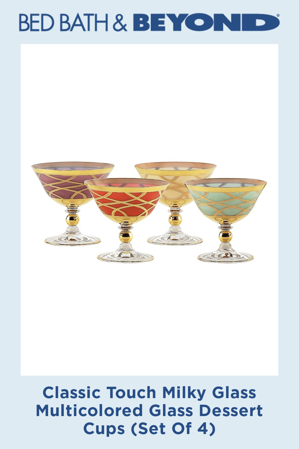 Classic Touch Milky Glass Multicolored Glass Dessert Cups Set Of 4 In 2020 Dessert Cups Cupping Set Glass