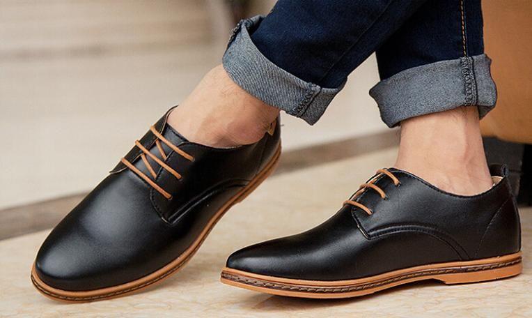 Zapatos negros con cordones oficinas para hombre SZ1XC