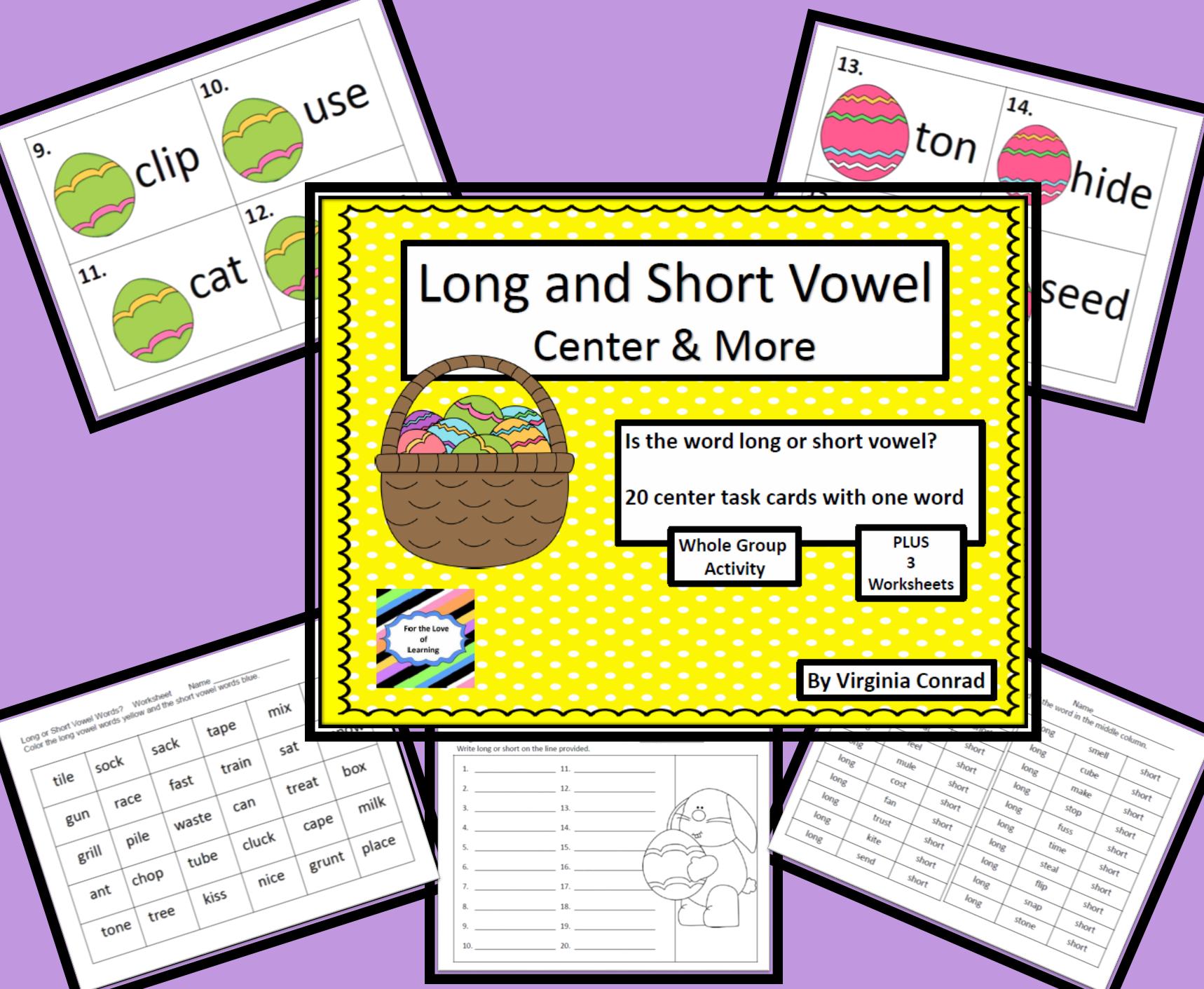 Long And Short Vowel Words Activity Worksheets Task