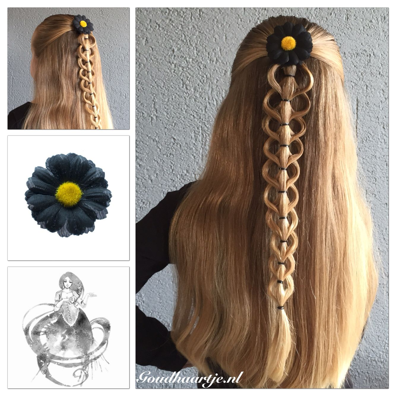 Bubble loop braid with hairflower from Goudhaartje.nl Inspired by…