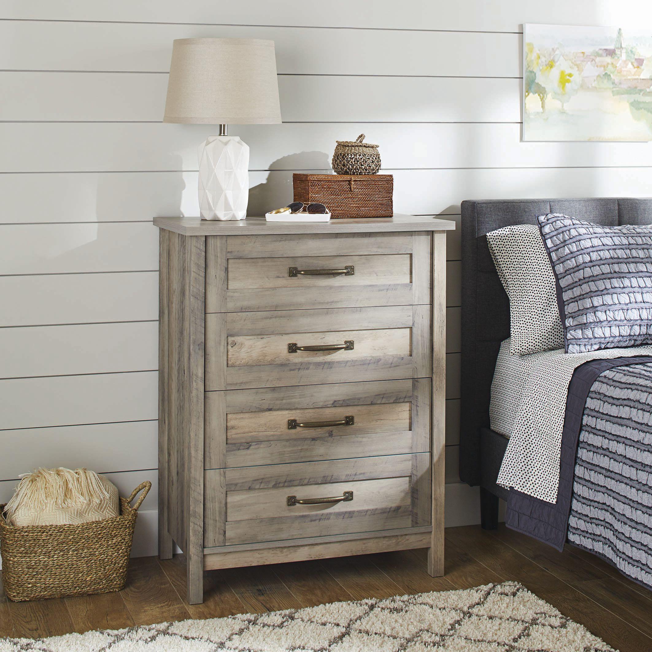 Better Homes Gardens Modern Farmhouse 4 Drawer Chest Rustic Gray Finish Walmart Com Wooden Bedroom Rustic Dresser Bedroom Furniture [ 2125 x 2125 Pixel ]