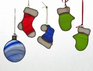 Mittens Hats Stocking Ornaments Stained Glass Christmas