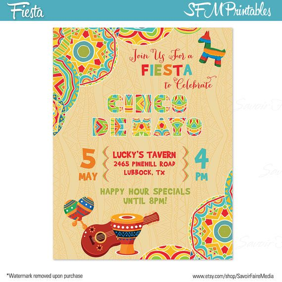 Cinco de Mayo Fiesta Flyer Invitation Poster   Template Church - school menu template