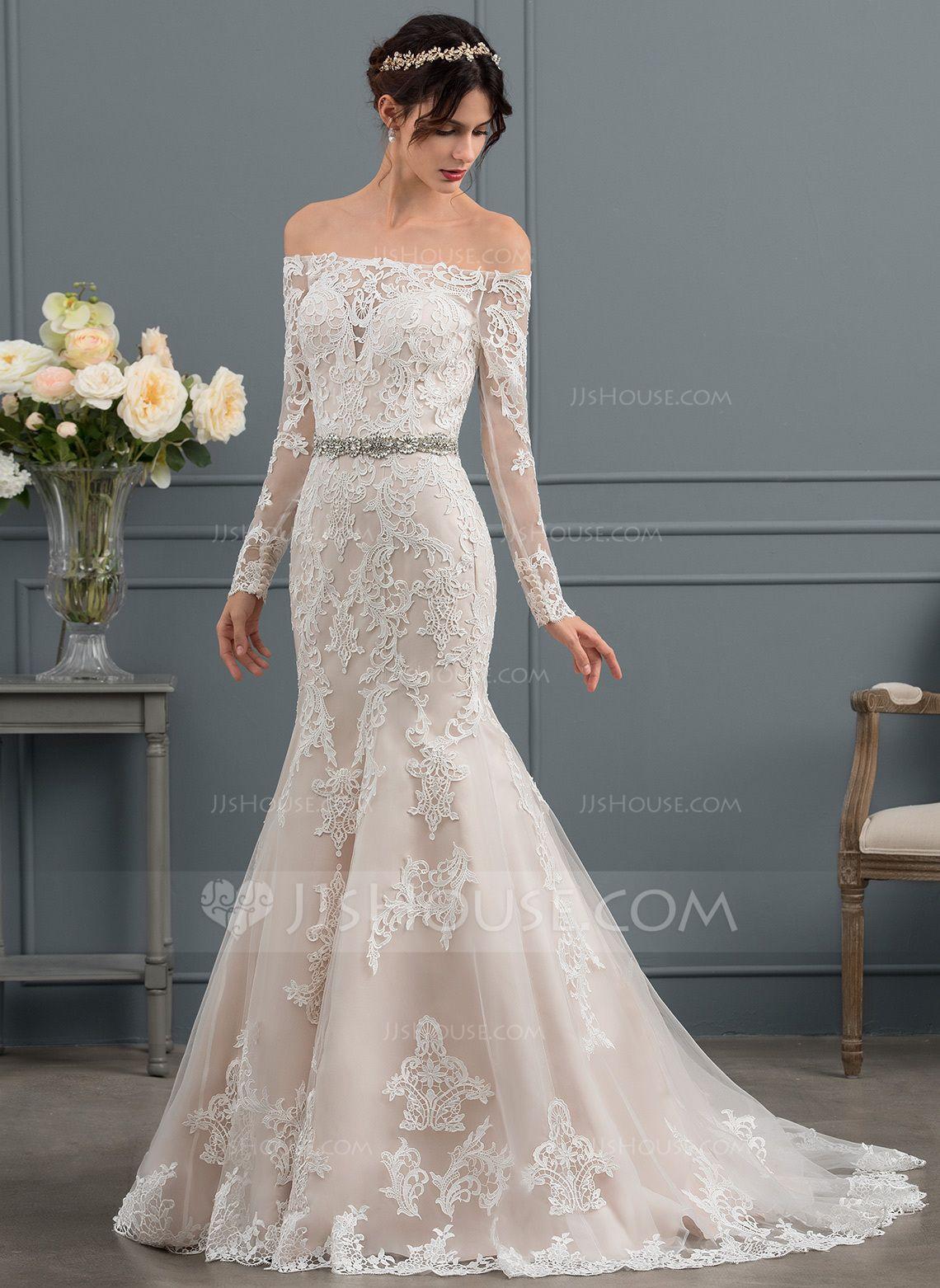 254 00 Trumpet Mermaid Off The Shoulder Sweep Train Tulle Wedding Dress Jj S House Wedding Dresses Affordable Wedding Dresses Bridal Dresses [ 1562 x 1140 Pixel ]