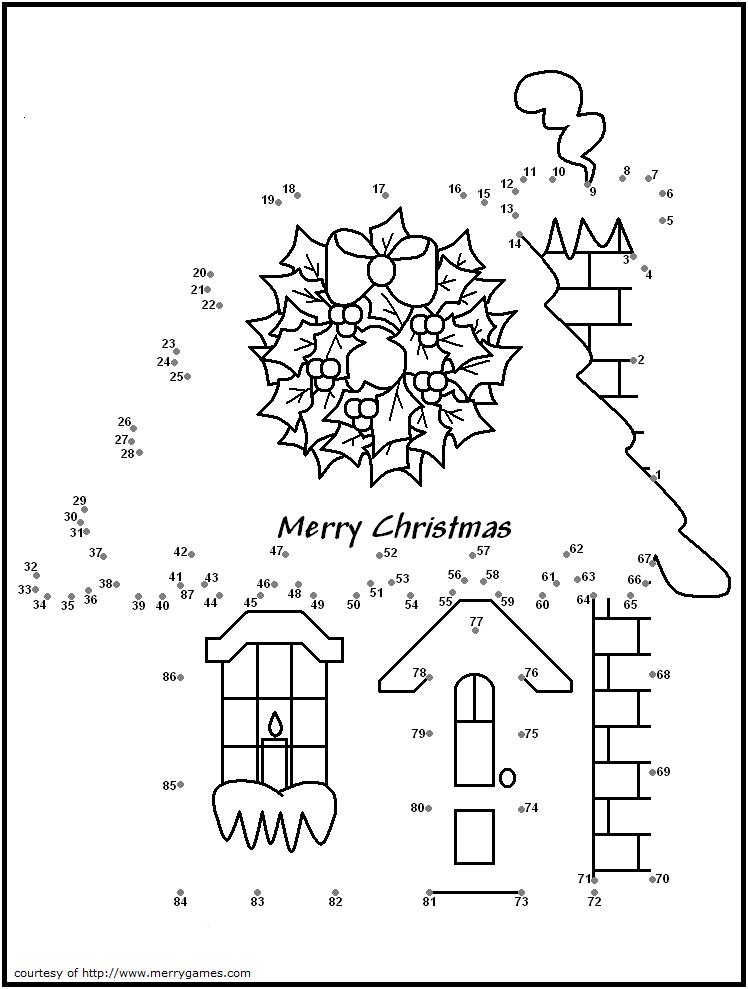 Christmas House Dot To Dot Christmas Coloring Pages Christmas Printables Free Christmas Printables
