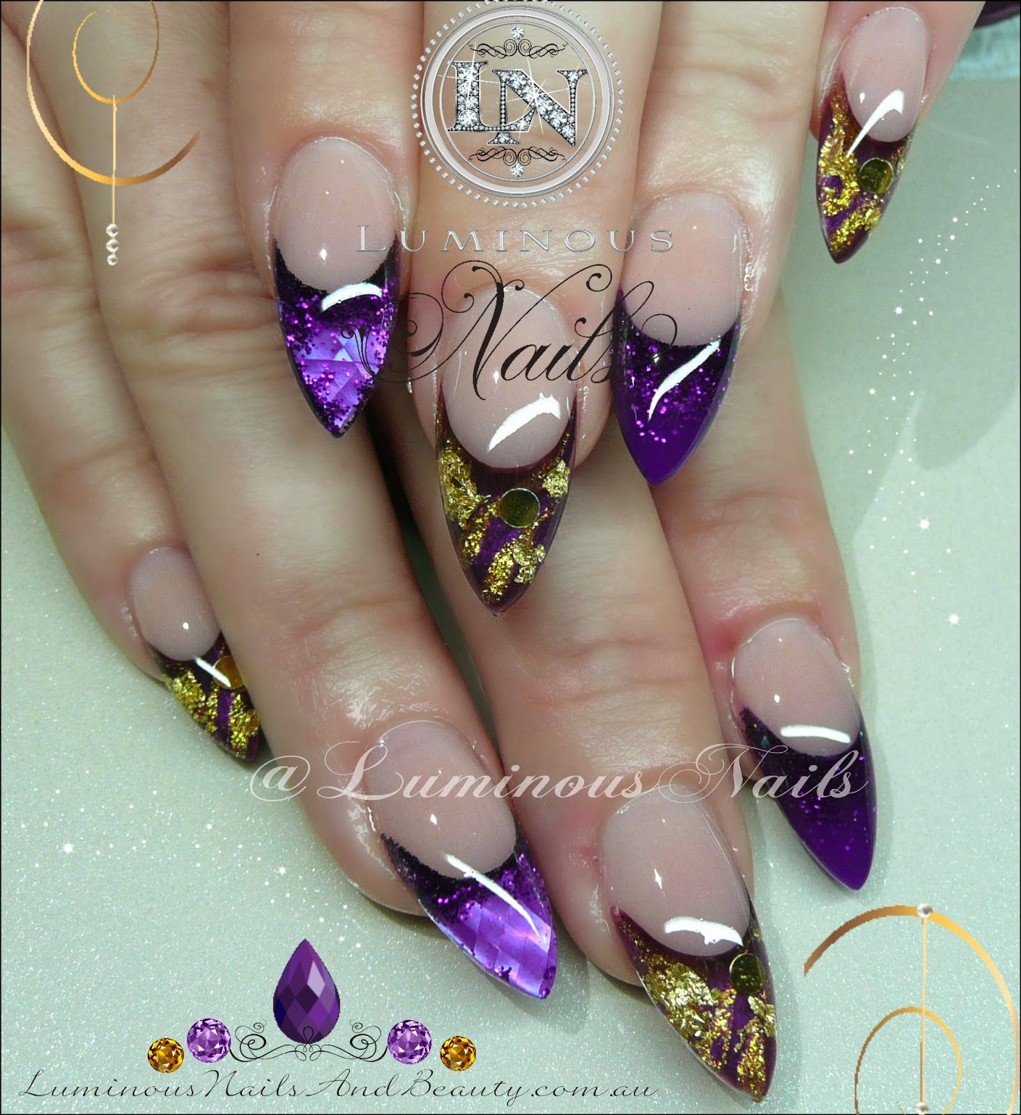 Luminous Nails: Purple Nails with Gold Leaf... | Nails | Pinterest ...
