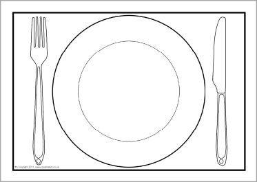 Bord met bestek kleurplaat google zoeken knutselen for Dinner plate coloring page