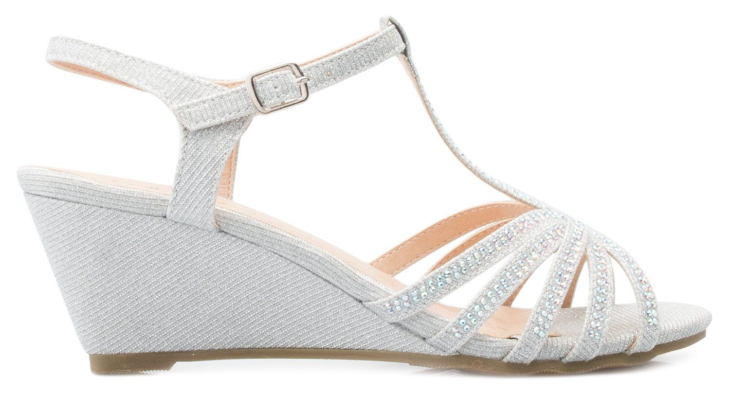 34fd841d426 OLIVIA K Womens Open Toe Glitter Shimmer Tstrap Cage Low Heels Wedge Sandal      Click image to review more details.-It is an affiliate link to Amazon.