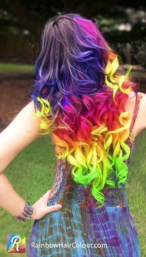 Long curly rainbow hair