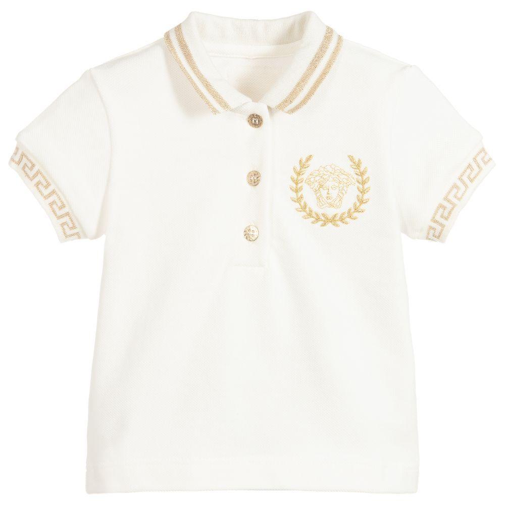 ae4e7a206 Young Versace - White Cotton Piqué Polo Shirt | Childrensalon