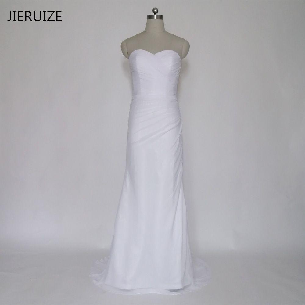 Simple beach wedding dress  Free Shipping Buy Best JIERUIZE robe de marriage White Chiffon