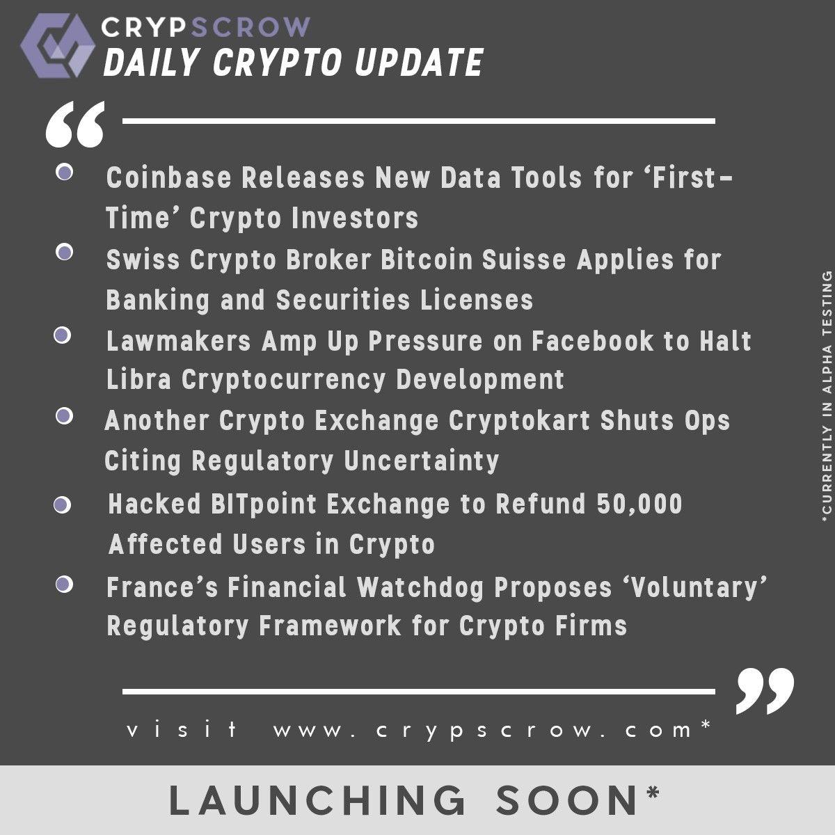 Dailycryptoupdate Cryptonews Crypscrow Coinbase Newdatatool