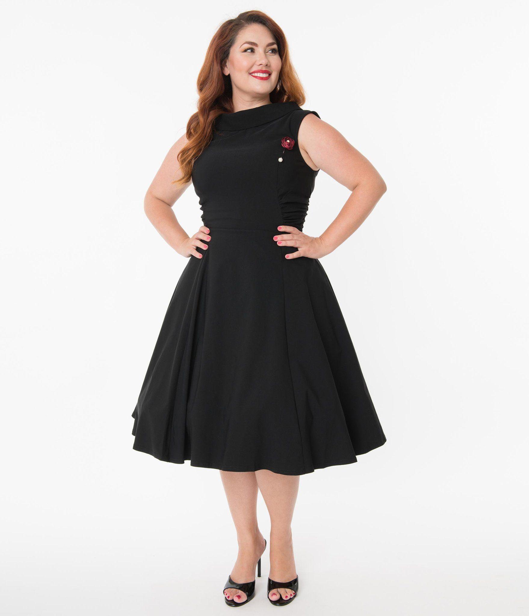 Unique Vintage Plus Size 1950s Black Eliza Swing Dress Black Dress Accessories Black Dress Outfits Swing Dress [ 2048 x 1759 Pixel ]