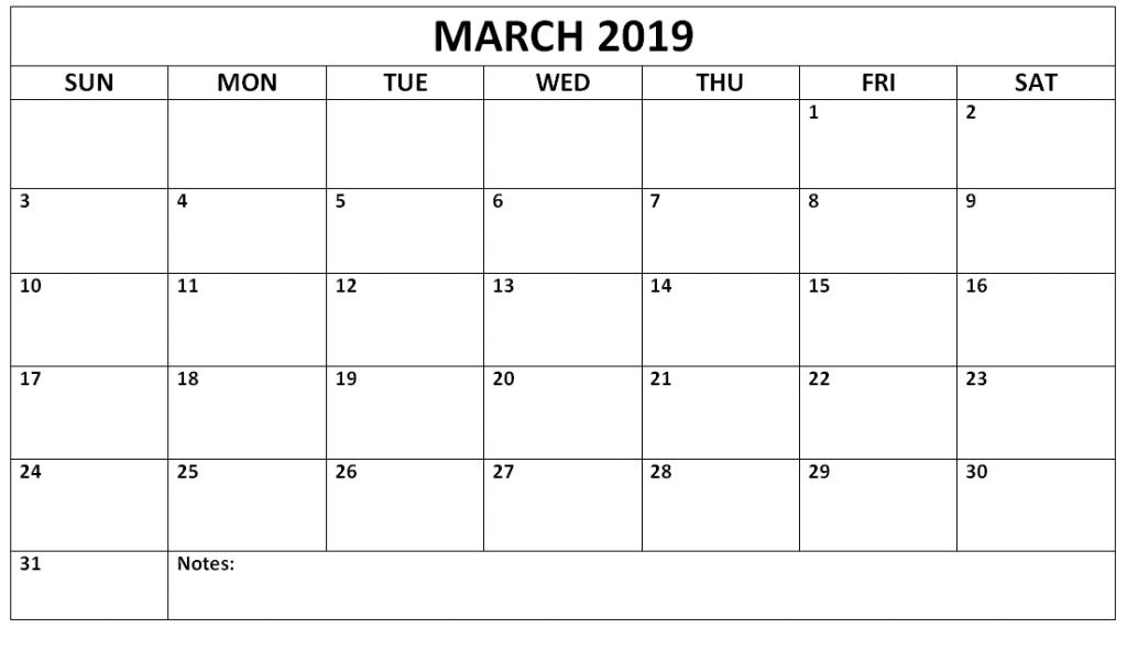 Editable March 2019 Calendar Template March March2019