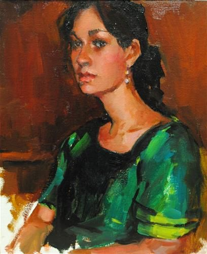 """Daily Paintworks - """"The Girl in the Green Dress"""" by Laurie Johnson Lepkowska"""
