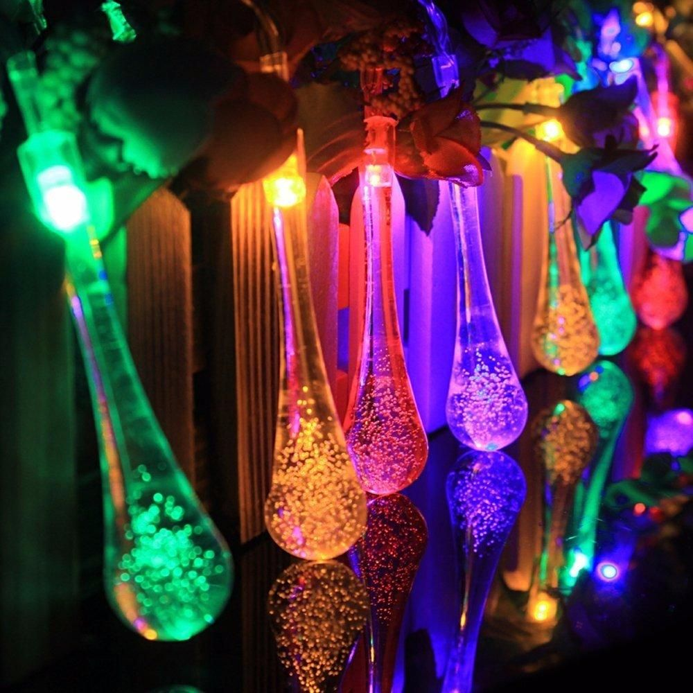 Cool White 30 Lights Outdoor Waterproof Solar Raindrop LED String Lights