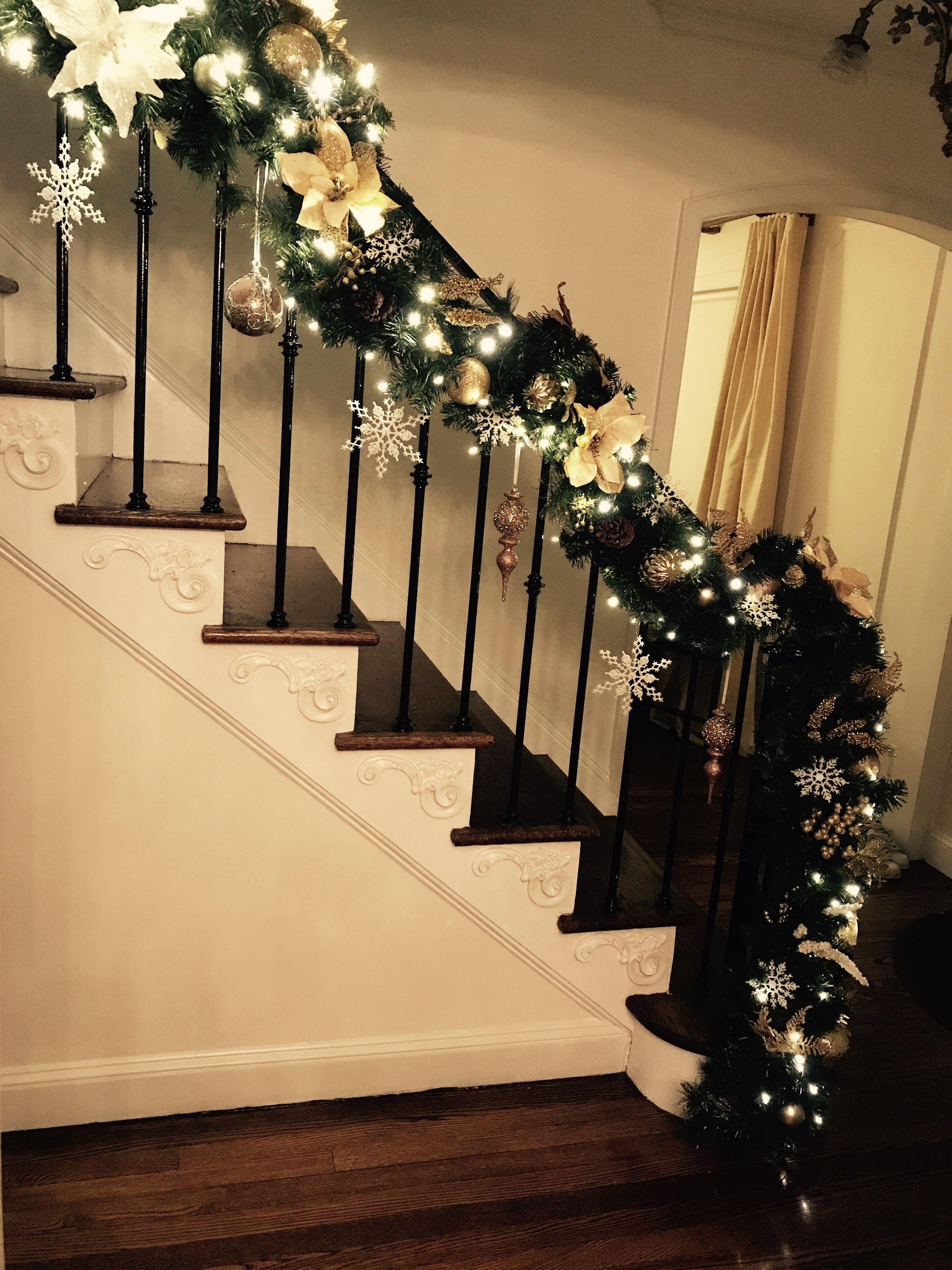 Christmas Banister Staircase White Gold Christmas Staircase
