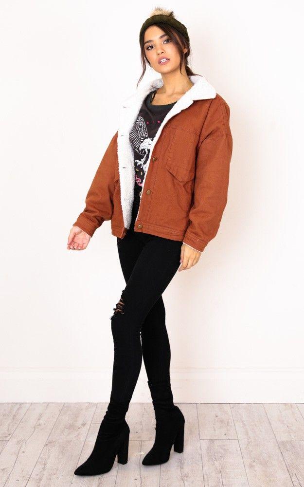 2ebbc5725 Stranger Shearling Jacket In Tan | Style | Shearling jacket, Jackets ...