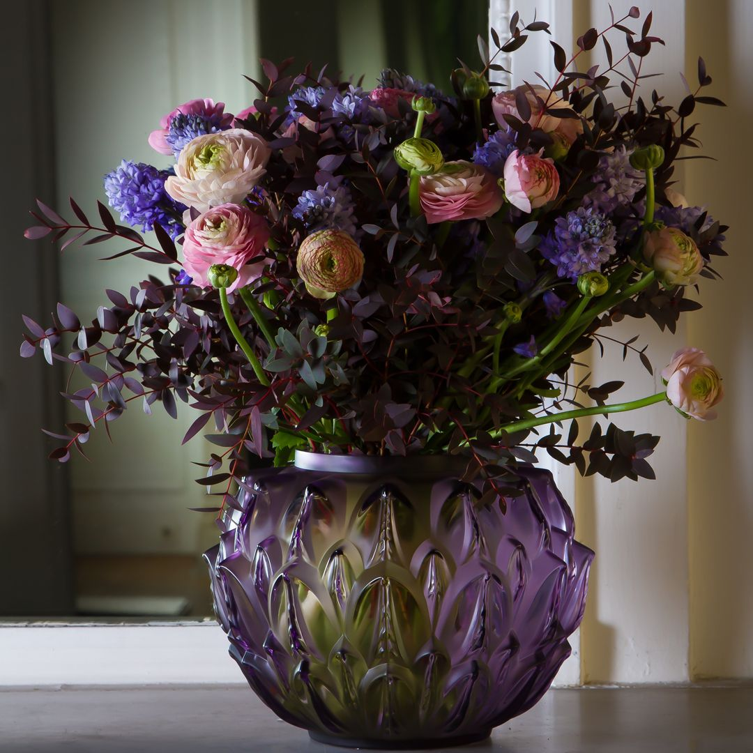 Fashioned in satin finished and re polished crystal emblematic of the purity intensity and depth of purple crystal compliment the luxurious design of the cynara vase floridaeventfo Images