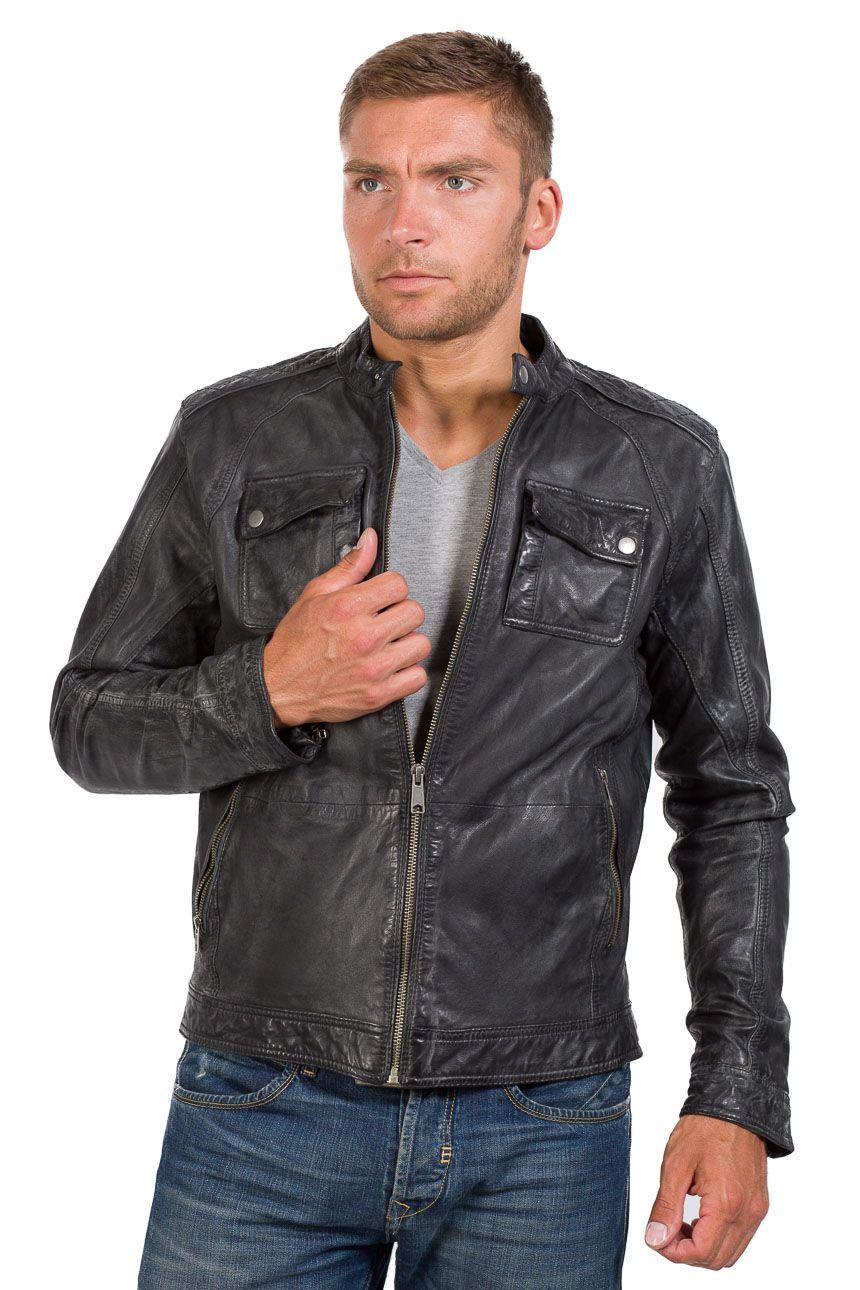 Coole Bikerjacke von Trapper schwarz | Lederjacken für