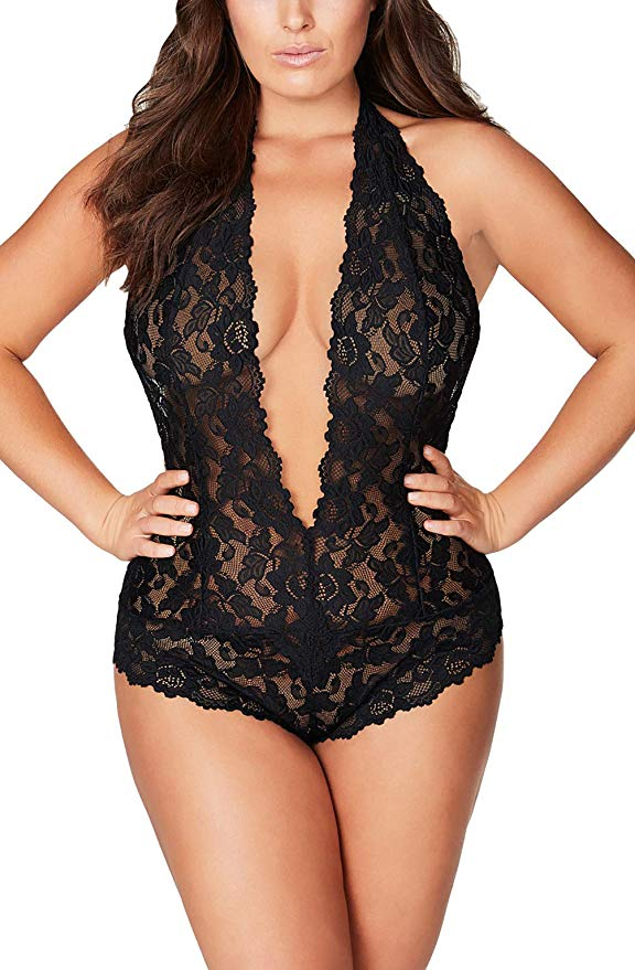 Photo of Open Back Halter Plunging Lace Teddy, Sexy One Piece Lingerie Plus Size