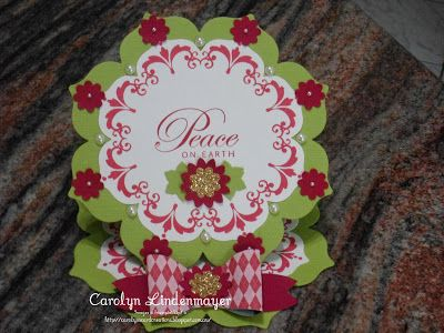 Carolyn's Card Creations: Just Add Ink #186 - Christmas Wreath Easel Card using Floral Framelits and Daydream Medallion stamps, Boho Blossom & Oval punches.