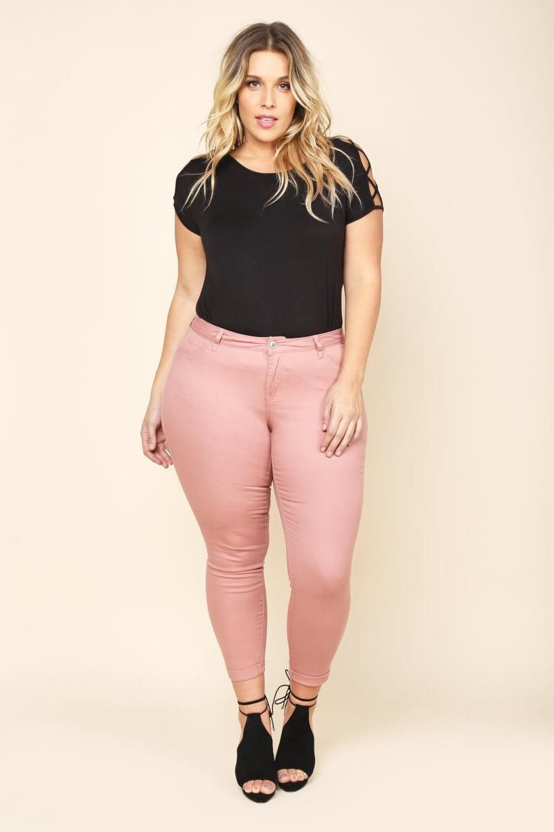 PLUS SIZE CUFFED SOLID COLOR SKINNIES Style #: 153264 $22.99 | GS ...