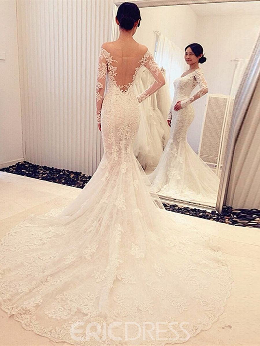 Mesh mermaid lace long sleeves off shoulder wedding dress with train