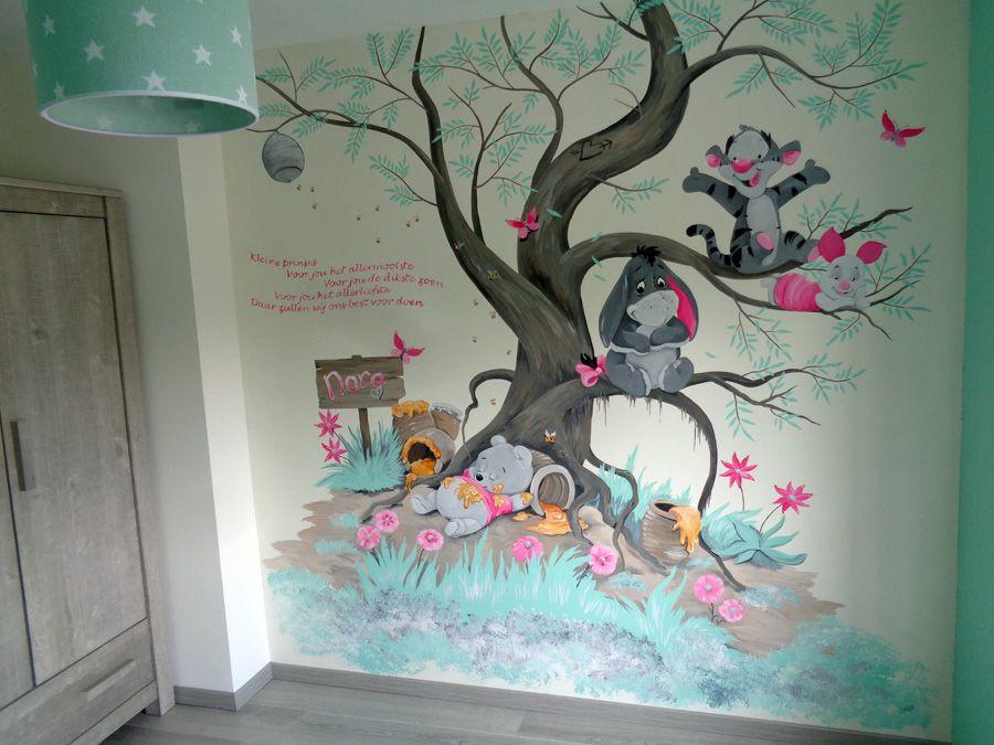 Babykamer muurschildering winnie the pooh kinderzimmer - Winnie pooh babyzimmer ...