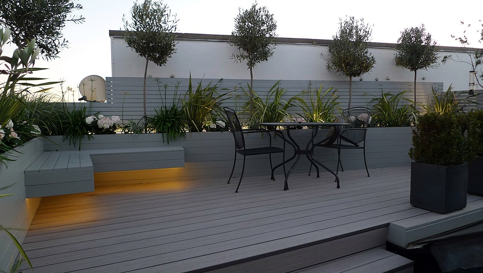 Grey Garden Decking Composite Boards Led Lights Modern Garden