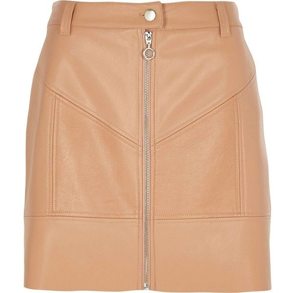 2e521a952e River Island Beige faux leather zip front mini skirt ($64) ❤ liked on  Polyvore featuring skirts, mini skirts, beige, women, short skirts, leather  look mini ...