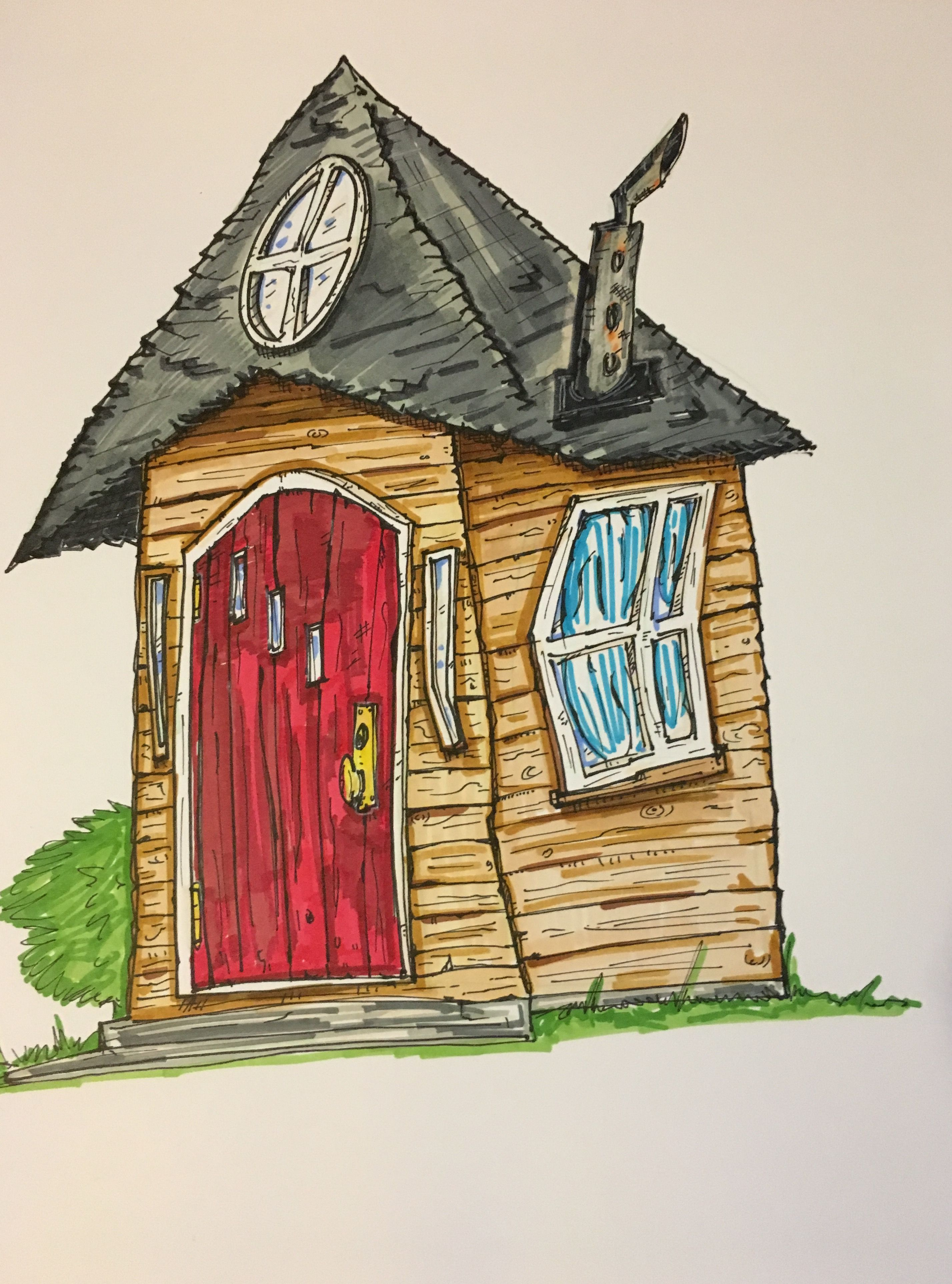 High Quality Tim Burton Style Ole Wooden House Drawing