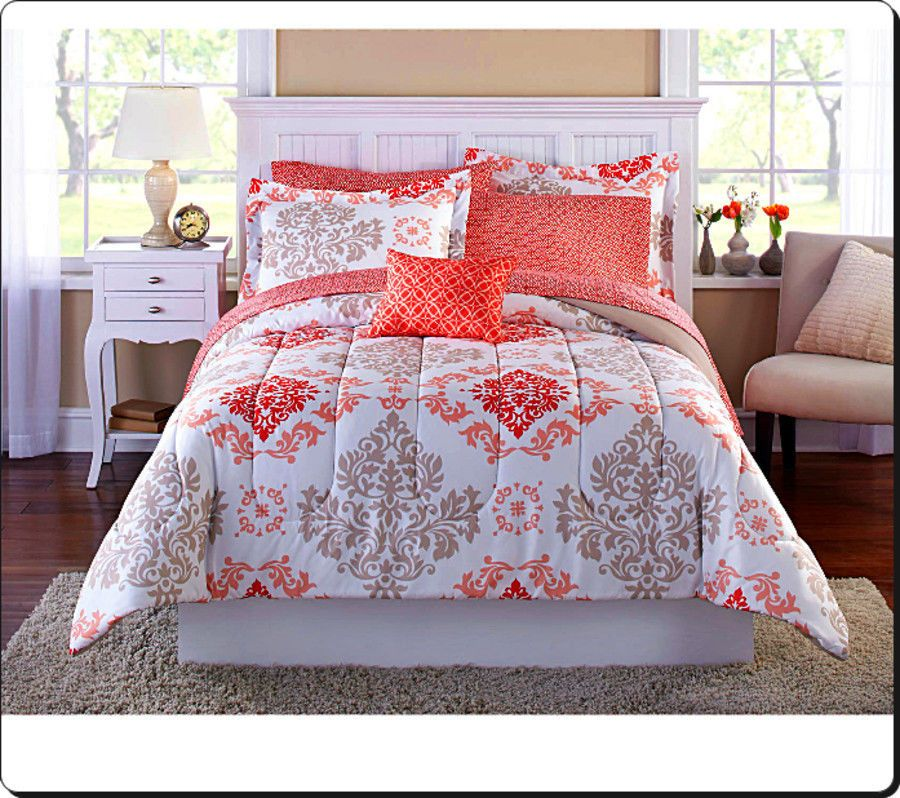 The Mainstays Coral Damask Bedding Set Revamps This Classic Motif