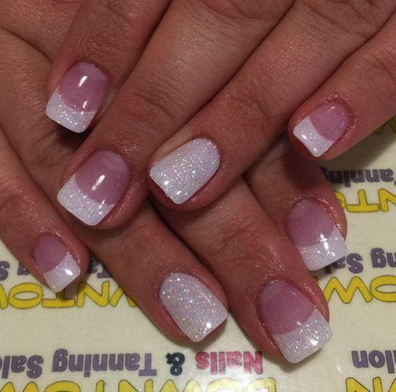 White Glitter Gel Nail Art