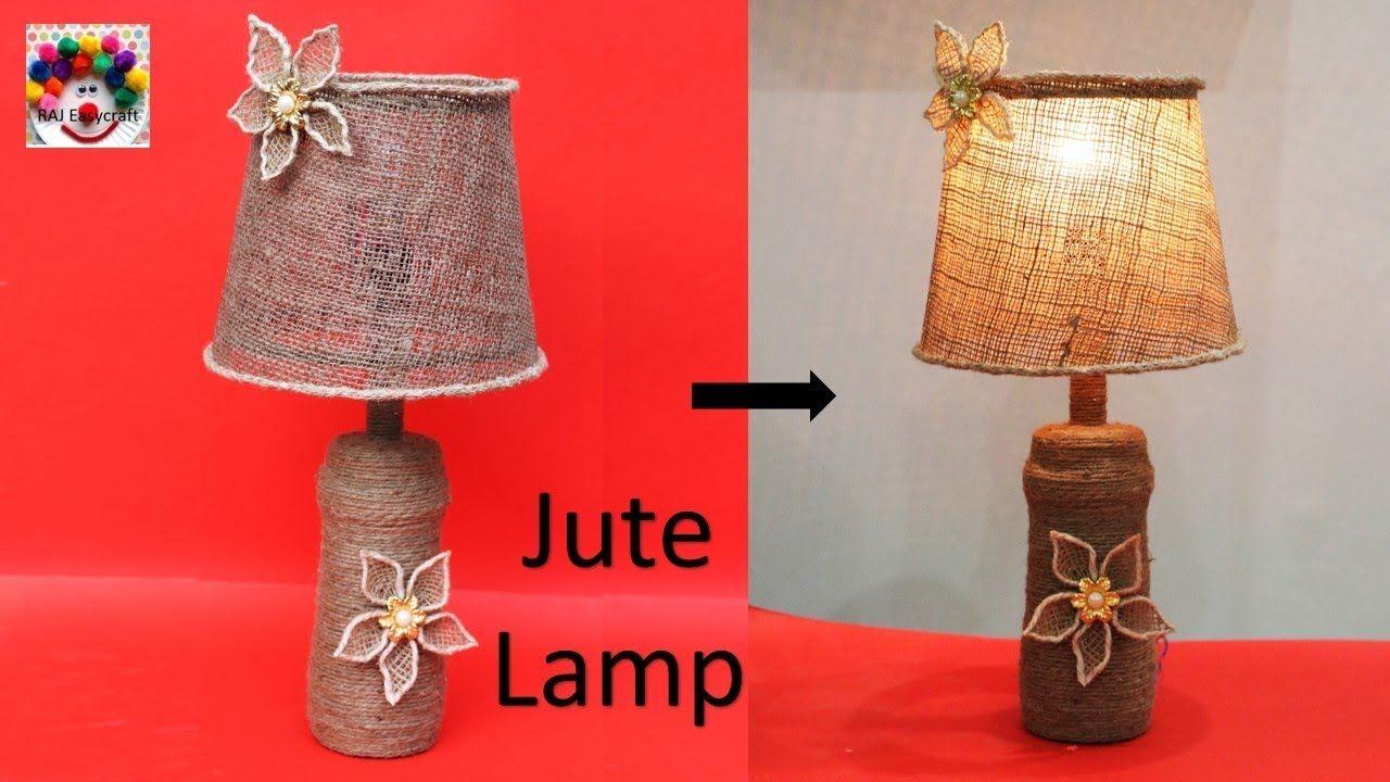 Jute Lamp Making At Home Waste Bottle Reuse Idea Diy Room Decor Table Lamp Youtube In 2020 Jute Lamp Diy Room Decor Room Diy