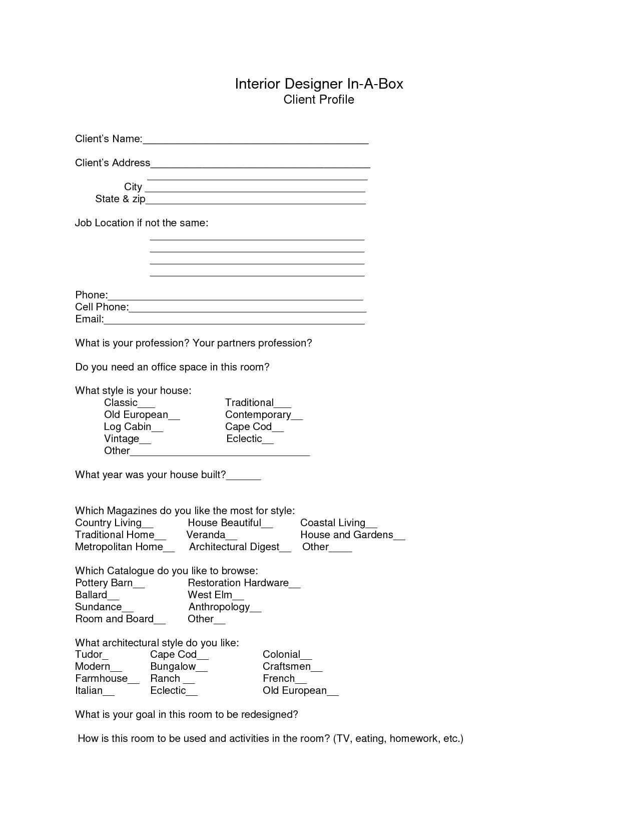 Interior Design Client Profiles