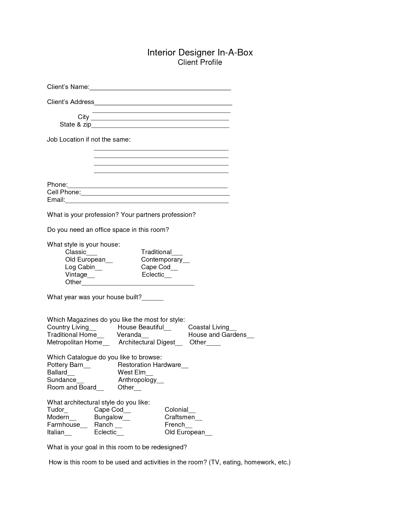 personal trainer client profile template - interior design client profile example