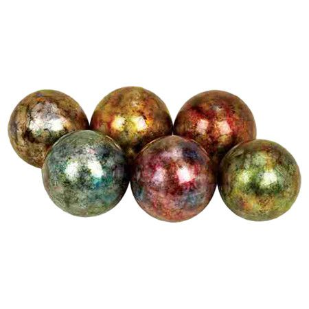 Decorative Marble Balls Set Of Six Decorative Balls In Iridescent Finishesproduct 6