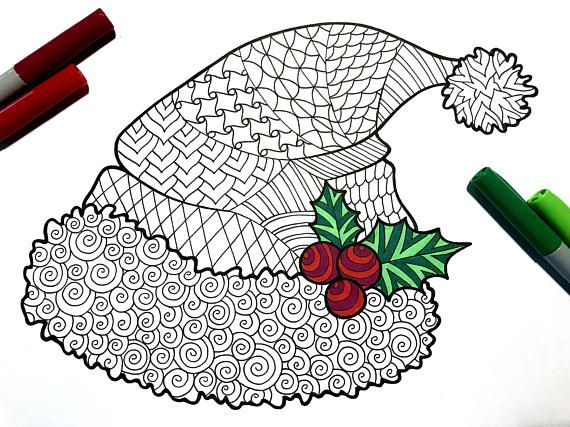 santa hat pdf zentangle coloring page - great holiday kid