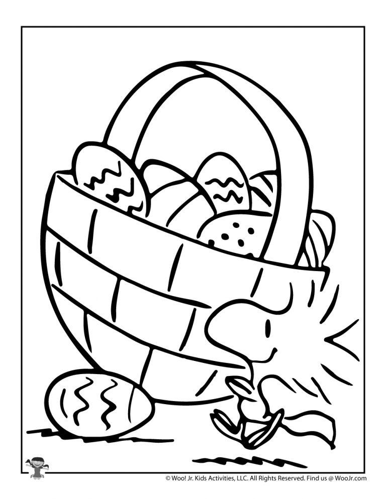 Woodstock Easter Egg Basket Coloring Sheet Woo Jr Kids Activities Easter Coloring Pages Charlie Brown Easter Easter Colouring
