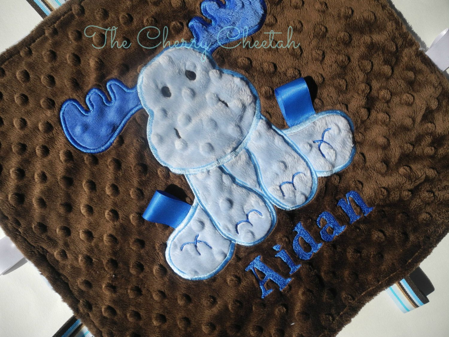 Personalized+Baby+Blanket+Blue+Moose+Lovey+by+TheCherryCheetahs,+$22.99