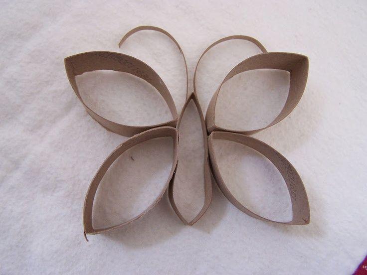 Mariposas con rollos de papel hecho con tubos de papel - Decoracion con carton de papel higienico ...