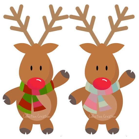Rudolph The Red Nosed Reindeer Digital Clipart Personal And Commercial Use Clip Art For Ca Red Nosed Reindeer Digital Clip Art Christmas Crafts Decorations