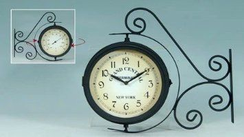 Amazon Com Grand Central Station Railroad 2 Faced Double Sided Solar Wall Clock And Thermometer Wall Clock Grand Central Station Clock