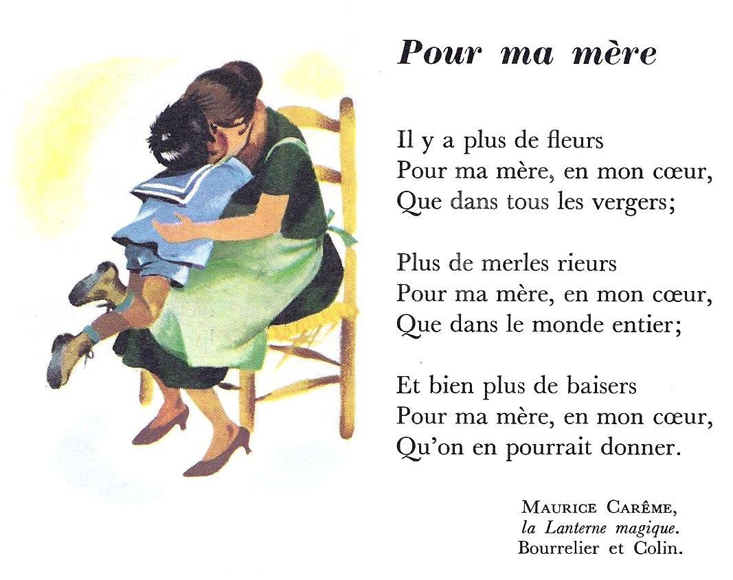Pour Ma Mère Maurice Carême Maurice Careme Poésie Cm1