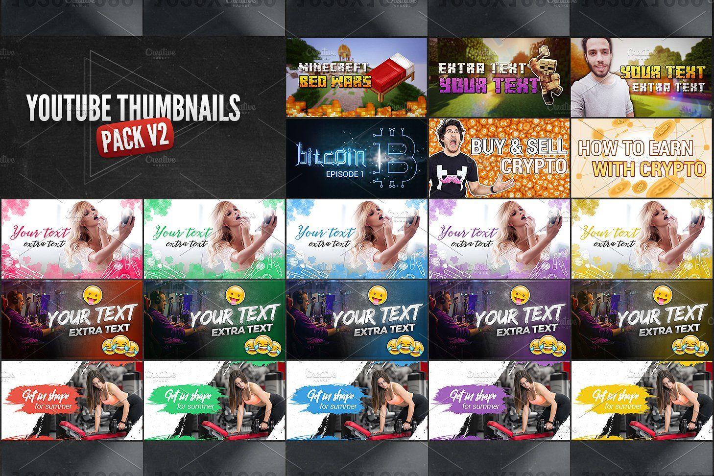 Youtube Thumbnails Pack V2 Youtube Thumbnail Youtube Design Thumbnail Design