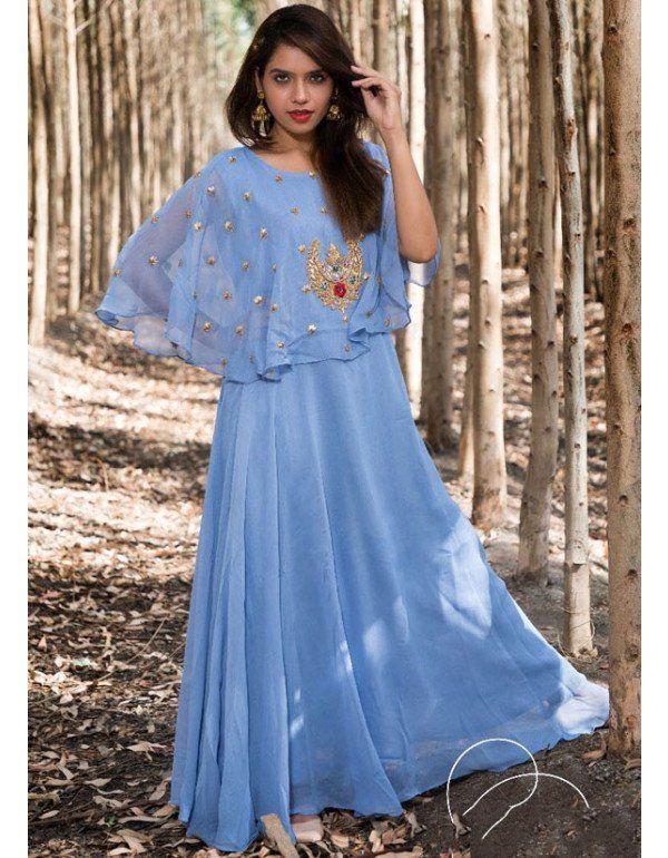 Cornflower Blue Hand Work Gown | Readymade Gowns | Pinterest | Gowns